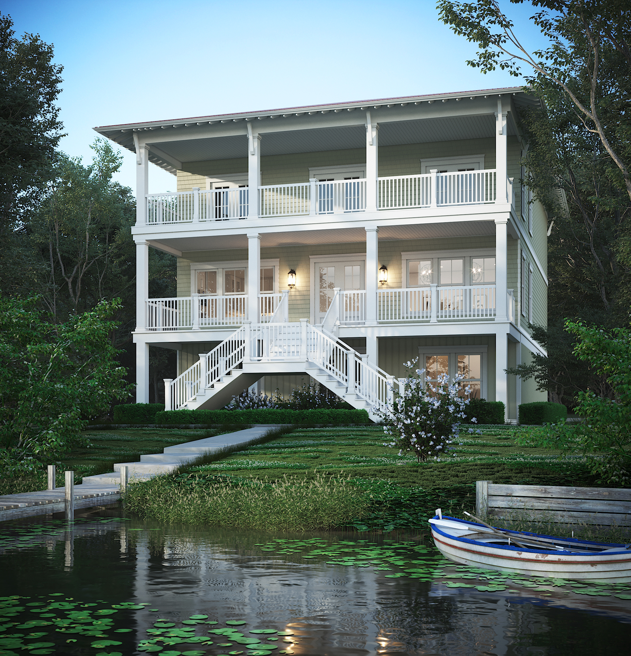CGI Exterior Perspective - Lakehouse at Dusk