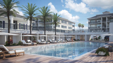 Luxury Condo Pool and Cabanas Rendering