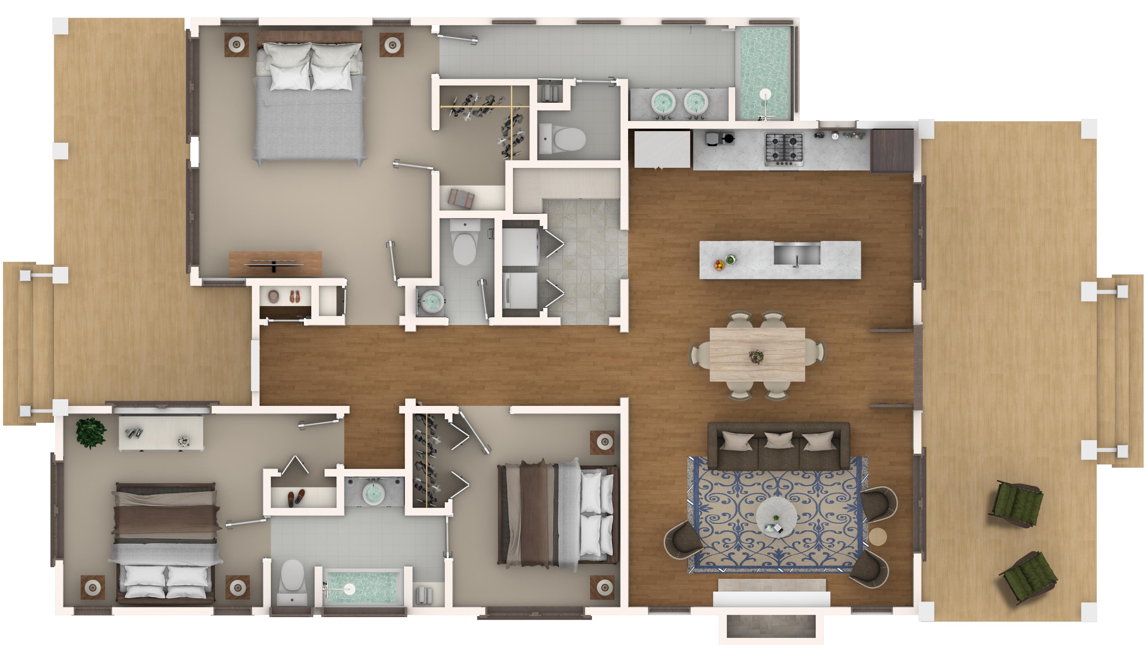 2d rendered floor plan artistic visions for Rendered floor plan